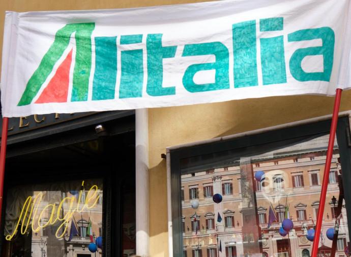 Roma, manifestazione dei lavoratori di Alitalia