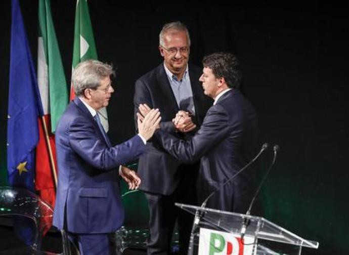 Gentiloni, Veltroni e Renzi alla kermesse del PD