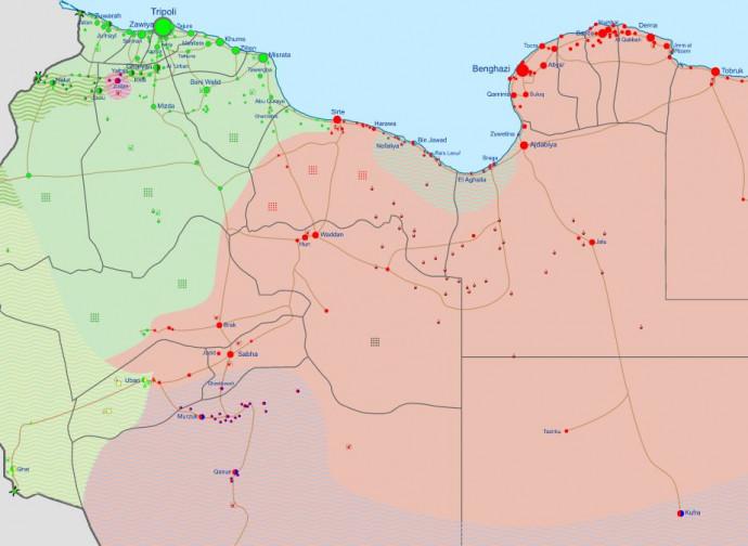 Libia, come è attualmente divisa (verde GNA, rosso LNA)