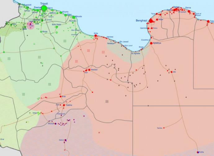 Libia, in verde il territorio del GNA, in rosso quello del LNA